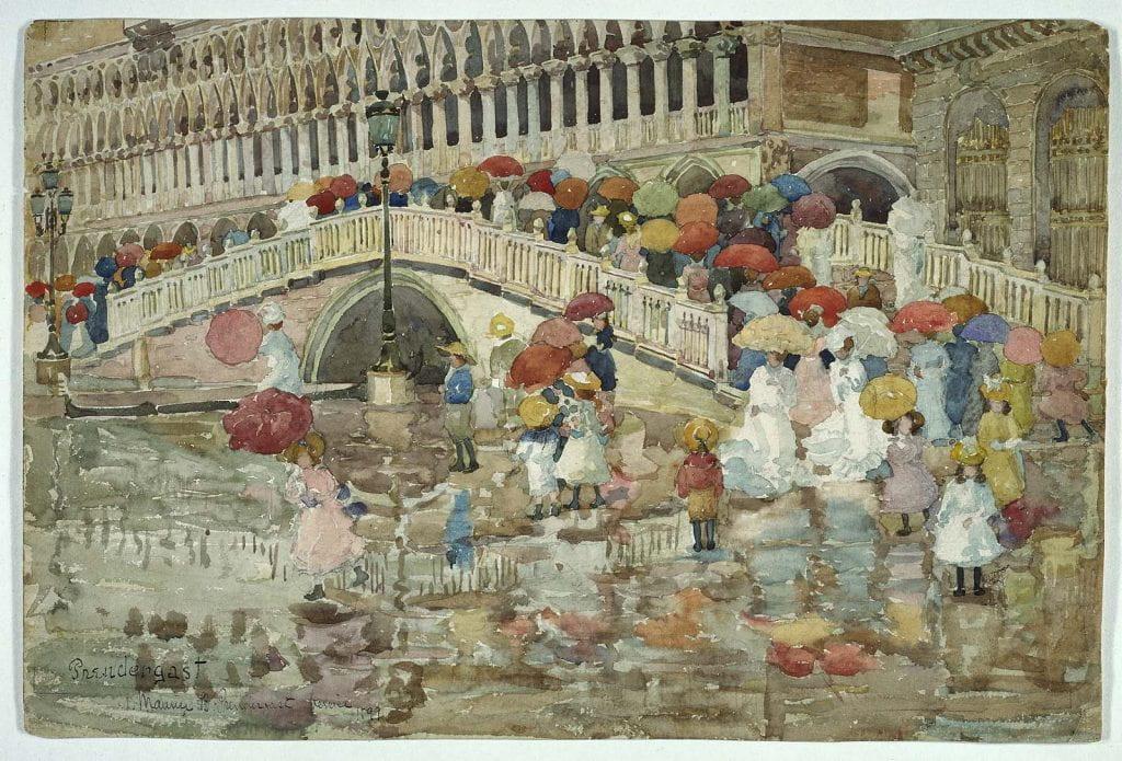 1899 watercolor of crowd with umbrellas