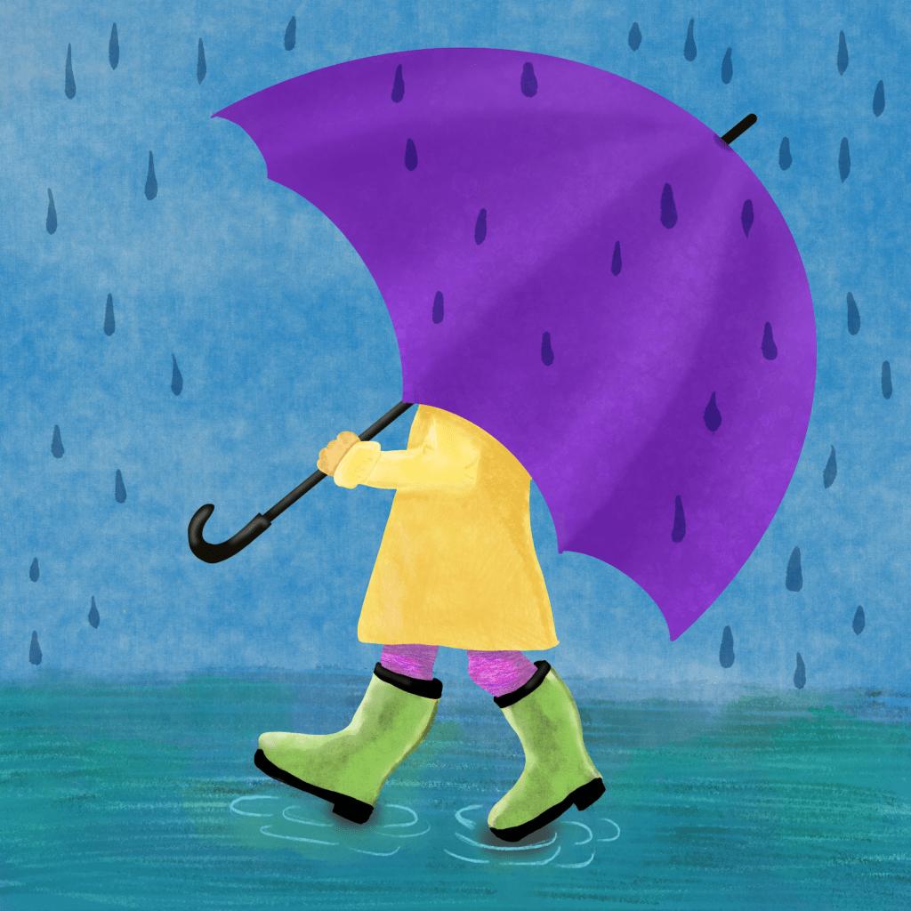 child walking with large umbrella